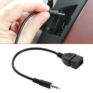 Car 3.5mm Audio AUX Jack to USB 2.0 Type A Female OTG Converter Adapter Cable