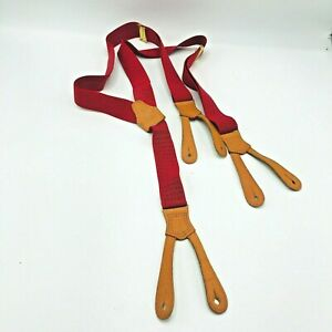 "Ralph Lauren Men's Adjustable Braces Suspenders Button Red Blue Men's Large 42"""