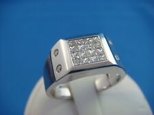 18K WHITE GOLD 0.59 CARAT T.W. PRINCESS CUT DIAMONDS MEN'S RING, 8.4 GRAMS