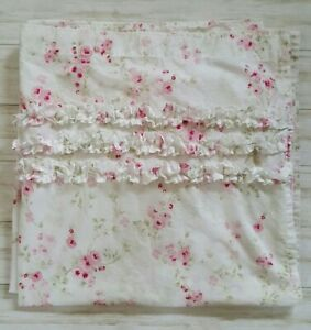 Simply Shabby Chic Shower Curtain Cherry Blossom Top Ruffles 72 x 72 SMOKE FREE
