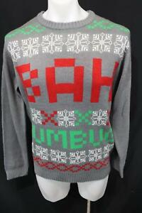 BAH HUMBUG 100% Acrylic Crew Neck MERRY CHRISTMAS Casual SWEATER L