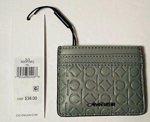 Calvin Klein CK Men's Textured Gray Leather Card Case Wallet BRAND NEW