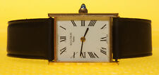 Men's Vintage ACCUTRON Cartier-Homage Quartz Watch Leather Band SWISS MADE <VGU>