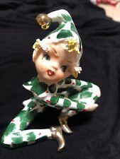 Vintage Lefton Christmas Holly Pixie Elf Figurine 303 Adorable. Rare 1950's.