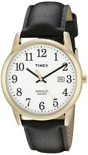 Timex Easy Reader Men's Black Leather Gold Tone Steel Indiglo Watch TW2P75700