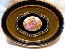 Mid Century WOOD FRAME Porcelain Cameo COURTING COUPLE Plaque ITALY Riba LABEL