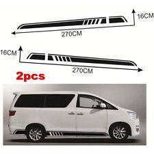 2 pcs Black Vinyl Auto Side Skirt Car Sticker Racing Stripe Decal Universal