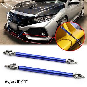 "Adjust 8""-11"" Blue Bumper Lip Splitter Tie Support Bar Strut Rod For Honda Civic"