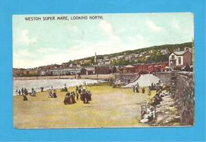 Weston-Super-Mare, Looking North, Somerset. Postcard. 1906?