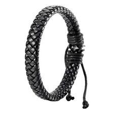 Leather Bracelet Bangle Cuff Rope Black Surfer Wrap Adjustable Men,Women