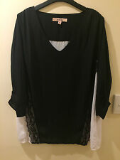 Avella Black & White Panel Top with Lace Ladies Plus Size 18 Tunic Blouse