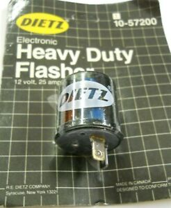 Dietz 2-Prong Electronic Turn Signal Flasher Relay 2 Pins Round 12V 25 Amps
