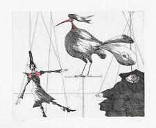 """PAUL FLORA ORIGINAL RADIERUNG """"Marionetten und Vogel"""""""