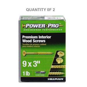 The Hillman Group 48584 LB 9x3 Gold AP Wood Screw (2 Pack)