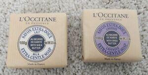 LOT OF 2 L'Occitane Shea Butter Extra Gentle Soap Lavender, Milk 3.5oz 100 ml