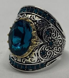 Blue Topaz Cubic Zirconia Silver Plated Copper Accent Ring Size 9 Sparkle