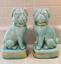 """Set of 2 Turquoise & Gold Pug Figurines 7-3/4"""" Statues, Andrea by Sadek, Japan"""