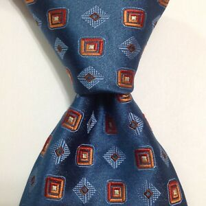 ERMENEGILDO ZEGNA Men's 100% Silk Necktie ITALY Luxury Geometric Blue/Orange NEW