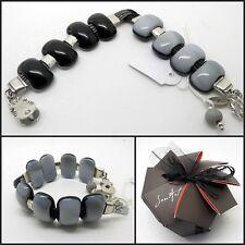 Handmade Black & Grey Fused Glass Stone Bracelet, Jan Art Jewelry.