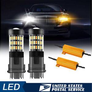 2x 3157 LED Front Turn Signal Light Bulb+Resistors for Dodge Ram 1500 1994-2010