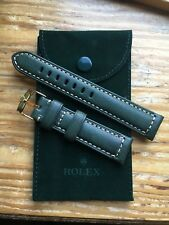 ROLEX Watch Band 20MM Green Leather with Gold Buckle & ROLEX Suede Pouch