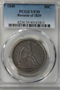 1840 50C PCGS REVERSE OF 1839        Liberty Seated Half Dollar, 50 Cents