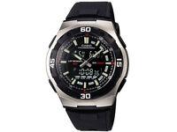 Casio Men's Analogue & Digital Resin Strap Watch, Black,
