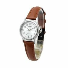 Casio Women's Brown Leather Strap Watch, Silvertone Dial, LTP1095E-7B