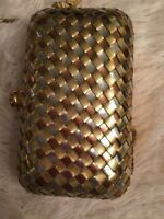 VINTAGE PURSE CLUTCH METAL CHAIN BASKET WEAVE  CROSSBODY TASSEL HAND WOVEN RETRO