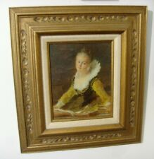 Antique real oil painting on canvas Aristocratic Elizabethan Lady portrait 50657
