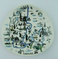 Mid Century Mod Danmark Denmark Map Plate Wall Hanging Hand Painted Silk Screen