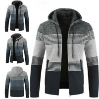 Sweater Mens Winter Jumper Cardigan Warm Thick Knitted Zip Jacket Hoodies Wool