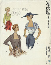1950 Vintage Sewing Pattern B32 BLOUSE (1803)