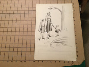 """original art - mother and 2 girls - all matching clothes - lilly pads - 10 x 15"""""""