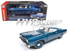 AUTO WORLD 1:18 1969 PLYMOUTH GTX CONVERTIBLE DIE-CAST BLUE AMM1102