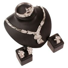 Fashion Women Silver Plated Africa Dubai Wedding Party Necklace Jewelry Sets