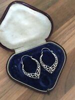 Beautiful Pair of Sterling Silver Long Ornate Drop Earrings 3.09gr
