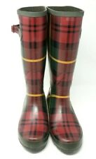 Women's LL Bean Red and Green Plaid 14 inch Tall Wellies Rain Boots Size 9