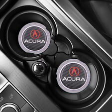 X2 Silver Silicone Carbon Fiber Car Cup Holder Pad Mat For Acura Anti-Slip