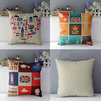 "18"" Retro London Style Throw Decorative Cotton Linen Pillow Case Cushion Cover"