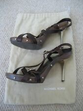 MICHAEL KORS Dark Brown Leather and Gold Gladiator Strappy Clogs Boho Luxe US 9