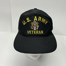 U.S. Army Veteran Black Baseball Hat Snapback Patch Logo Made In USA Official