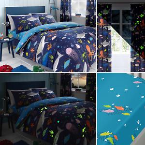 Bedlam Multi SEA LIFE Glow in the Dark Kids Duvet Quilt Cover Bedding Range