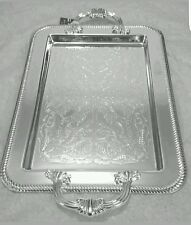 Silver Plated Tray Tableware With Handles Tarnish Resistant  Made in UK