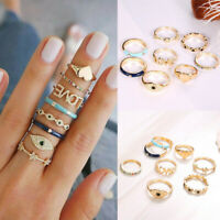 8 Pcs Gold Midi Finger Ring Set Crystal Heart Star Boho Knuckle Rings Jewelry