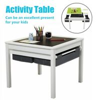 3-in-1 Kids Activity Table Set w/Building Block Table,w/2 Storage Boxes No Chair