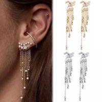 Women Girl Star Tassel Dangle Ear Jacket Jewelry Cocktail Banquet Earrings