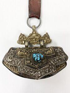 Tibet Flint Purse Vintage Turquoise Leather Silver Gold