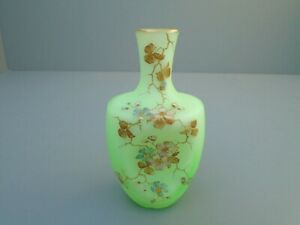 Antique Satin Art Glass Vase W/ Enamel Flowers 2 tone Victorian