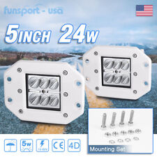2X 24W 5inch FLOOD LED Cube Pods Work Light Flush Mount Offroad Truck Jeep White